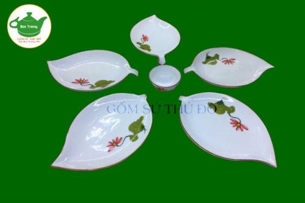 Bộ đồ ăn trắng sứ vẽ tay Bát Tràng