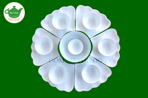 Bộ đĩa mặt trời trắng sứ - Bộ đồ ăn Bát Tràng nghệ thuật