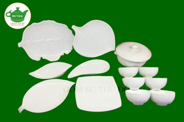 SET bộ đồ ăn trắng sứ Bát Tràn