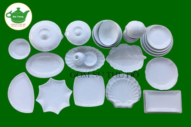 Bộ đồ ăn Bát Tràng trắng sứ