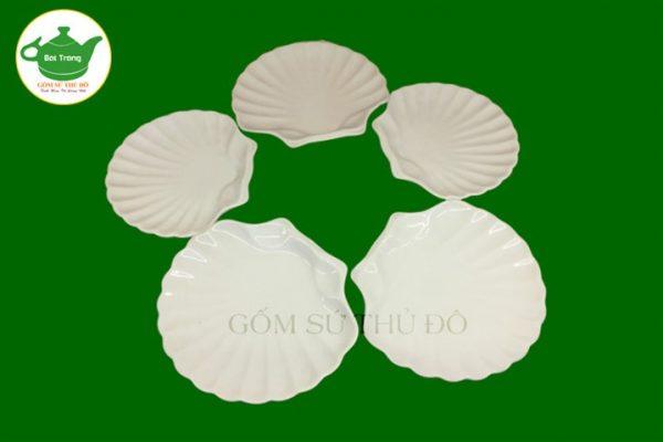SET bộ đĩa sò trắng sứ Bát Tràng