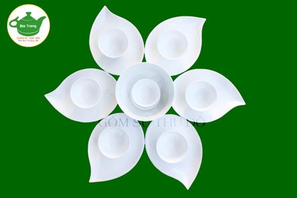 SET bộ đĩa lá trầu trắng sứ - Bộ đồ ăn cao cấp Bát Tràng
