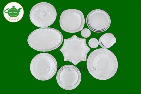 Set bộ đồ ăn trắng sứ Bát Tràng