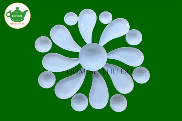 Bộ đồ ăn đĩa hoa cúc Bát Tràng