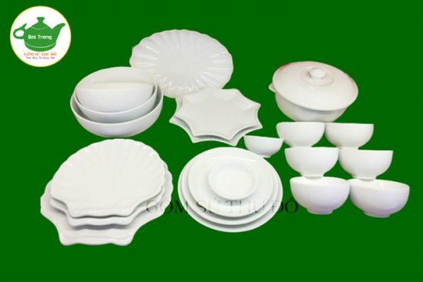 Bộ đồ ăn trắng sứ Bát Tràng cao cấp