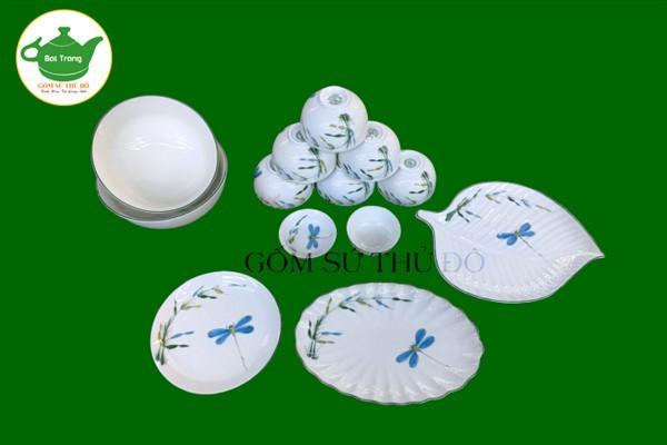 Bộ bát đĩa ăn Bát Tràng vẽ tay men kem