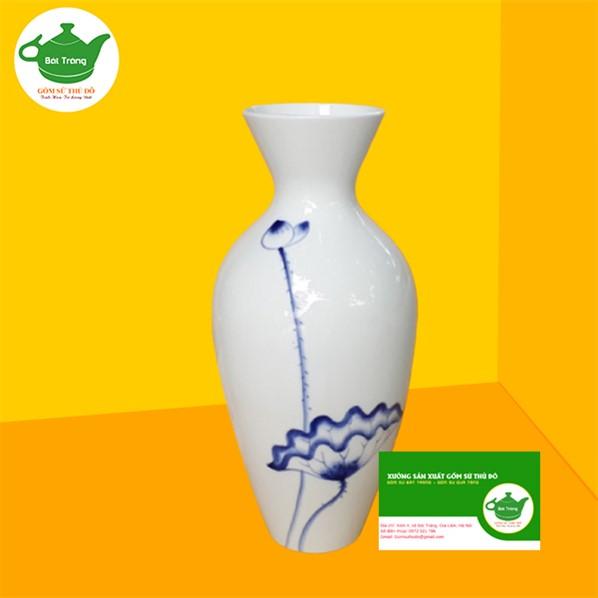 Bình Hoa Sứ Trắng - LST12 vẽ sen xanh - Quà tặng đại hội đẹp