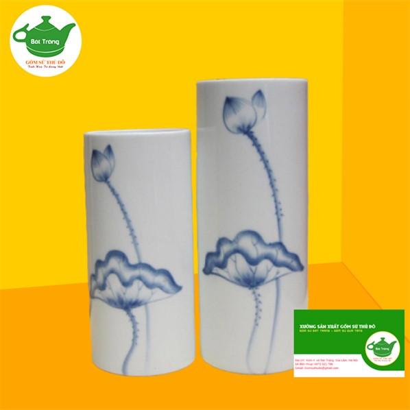 Lọ Hoa Sứ Trắng - LST26 vẽ sen xanh- Quà tặng gốm sứ Bát Tràng