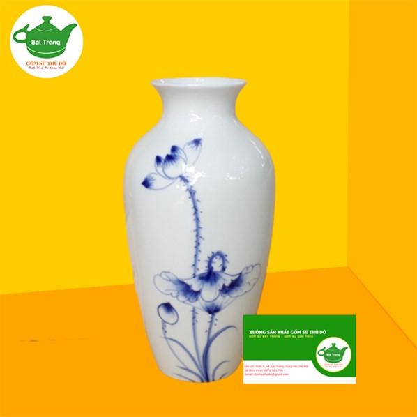 Bình Hoa Sứ Trắng - LST07 vẽ sen xanh - Quà tặng đại hội đẹp