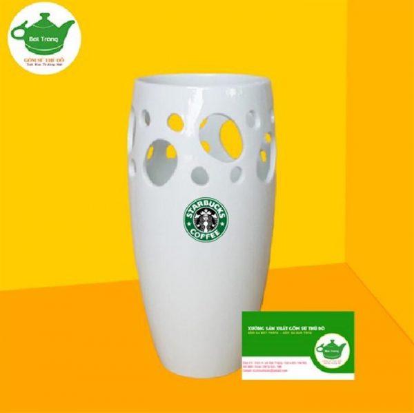 Bình hoa trắng sứ in logo