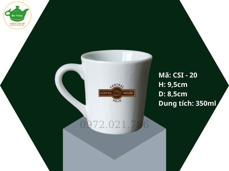 Ly sứ Bát Tràng dáng eo in logo 350ml