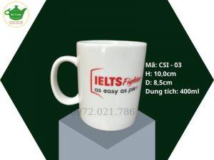 Cốc sứ trắng dáng quai C Bát Tràng 400ml in logo