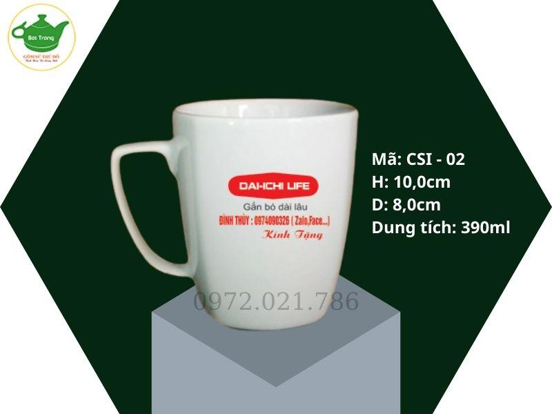 Cốc sứ quai vuông Minh Long in logo 390ml