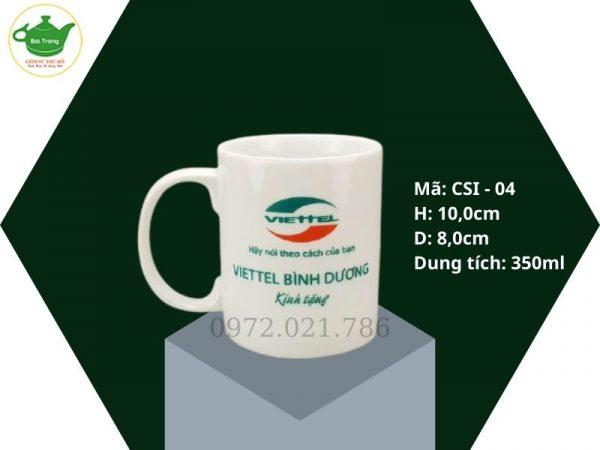 Cốc sứ quai C Bát Tràng in logo dung tích 350ml