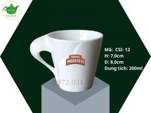 Cốc sứ quai xoắn Bát Tràng, dung tích 250ml in logo