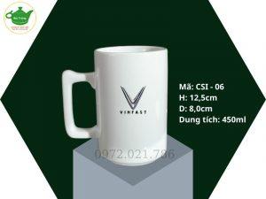 Cốc sứ trắng dáng quai Vuông Bát Tràng 450ml in logo