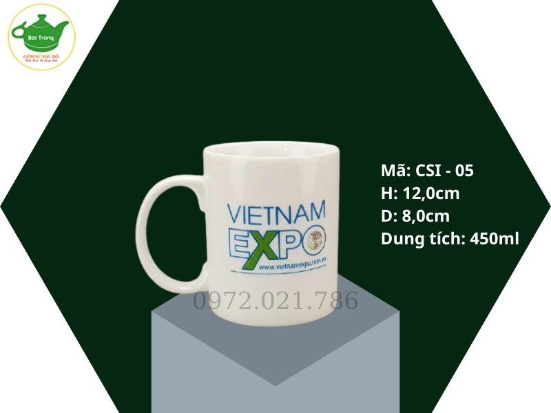 Cốc sứ trắng quai C dáng cao dung tích 450ml in logo