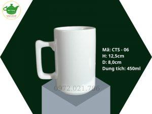 Cốc sứ trắng Bát Tràng quai vuông 450ml