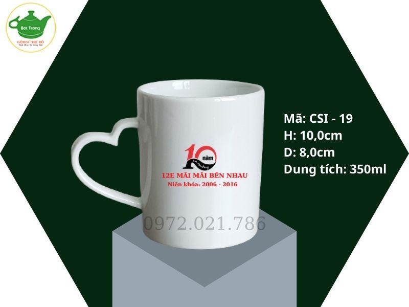 Cốc sứ Trắng Quai Trái Tim in logo 350ml
