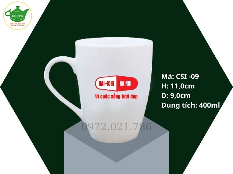 Cốc sứ trắng dáng thóp Bát Tràng 400ml in logo