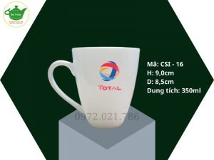 Cốc sứ dáng Vát men trắng sứ 350ml in logo