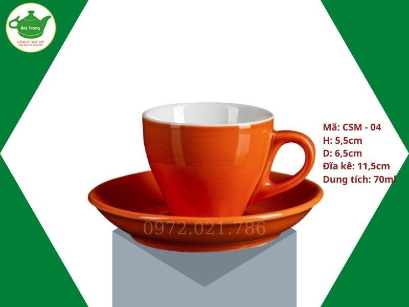 Ly sứ cafe cappuccino men màu cam