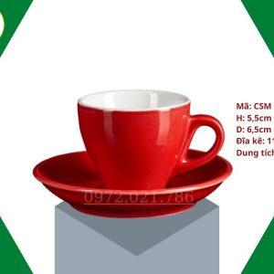 ly sứ cafe Cappuccino màu đỏ