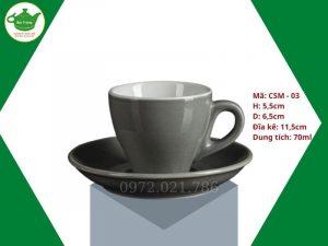 ly sứ cafe Cappuccino màu ghi