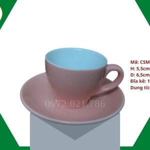 ly sứ cafe Cappuccino màu hồng