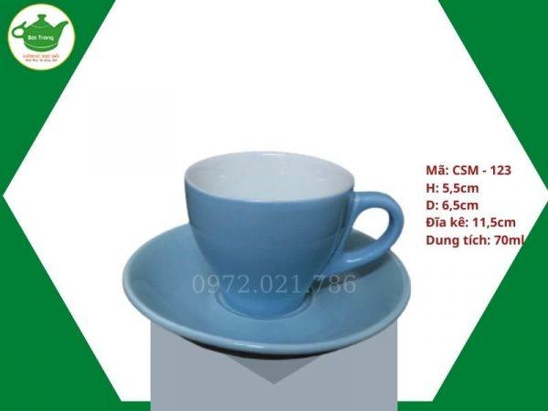 ly sứ cafe Cappuccino màu xanh cabe
