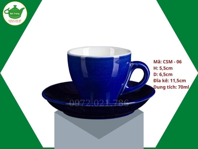 ly sứ cafe Cappuccino màu xanh cobal