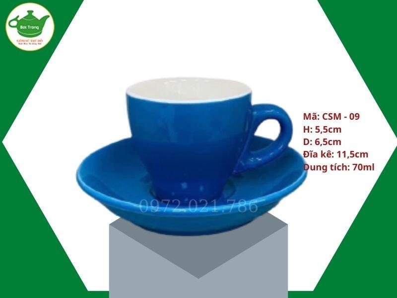 ly sứ cafe Cappuccino màu xanh đậm