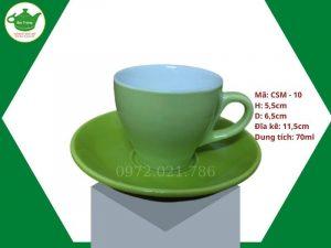 ly sứ cafe Cappuccino màu xanh lá cây