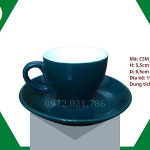 ly sứ cafe Cappuccino màu xanh lục