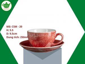 ly sứ cafe Cappuccino men vân đá đỏ