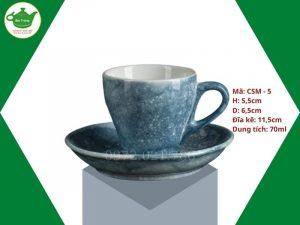 ly sứ cafe Cappuccino men vân đá xanh lục