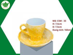 Ly sứ sứ cafe Capocino màu vân đá men vàng