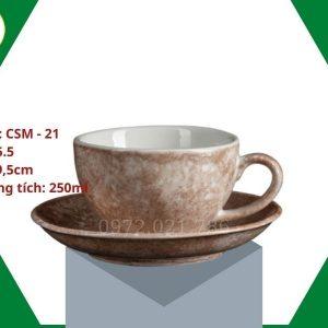 ly sứ cafe Cappuccino men màu nâu