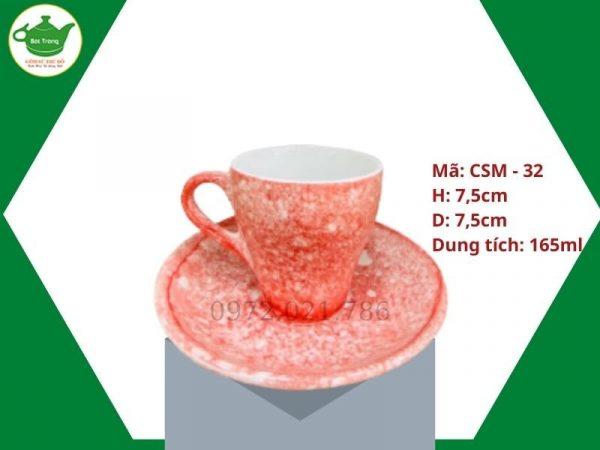 ly sứ cafe Cappuccino men vân đá hồng