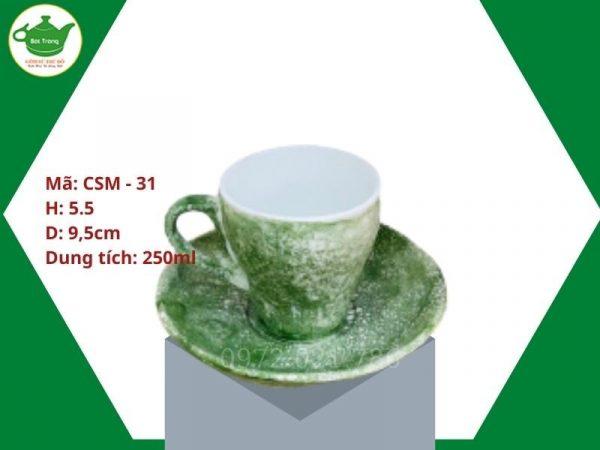 ly sư cafe cappuccino men màu xanh rêu