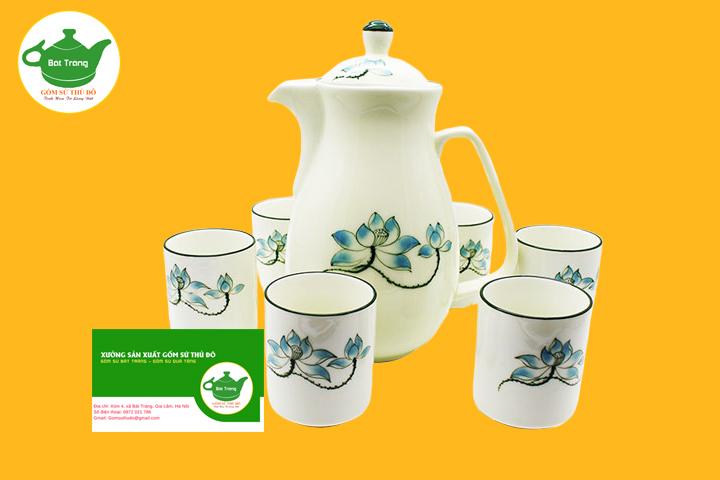Bộ bình trà Bát Tràng vẽ sen